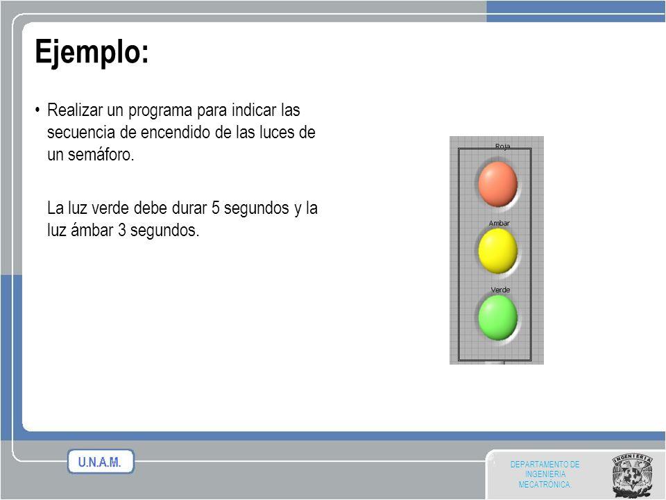 DEPARTAMENTO DE INGENIERIA MECATRÓNICA. Ejemplo: Realizar un programa para indicar las secuencia de encendido de las luces de un semáforo. La luz verd