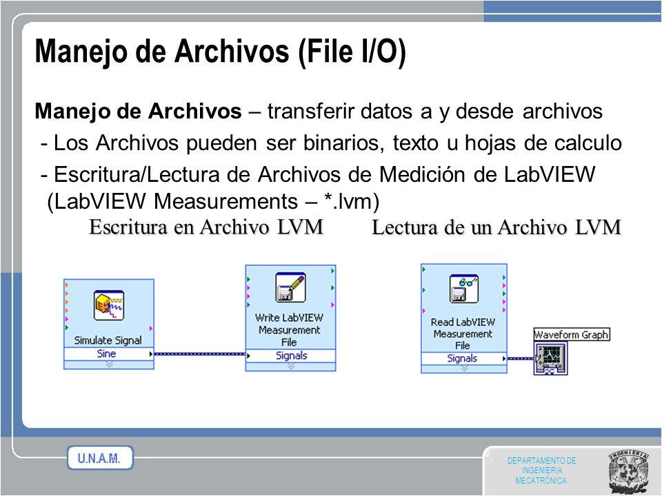 DEPARTAMENTO DE INGENIERIA MECATRÓNICA. Manejo de Archivos (File I/O) Manejo de Archivos – transferir datos a y desde archivos - Los Archivos pueden s