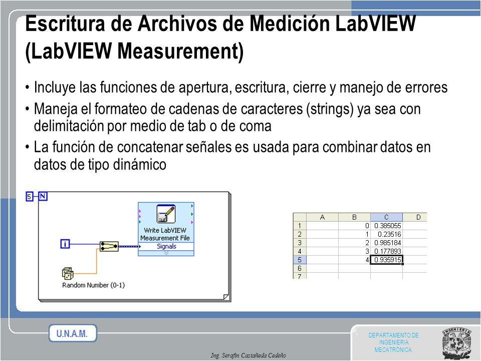 DEPARTAMENTO DE INGENIERIA MECATRÓNICA. Ing. Serafin Castañeda Cedeño Escritura de Archivos de Medición LabVIEW (LabVIEW Measurement) Incluye las func