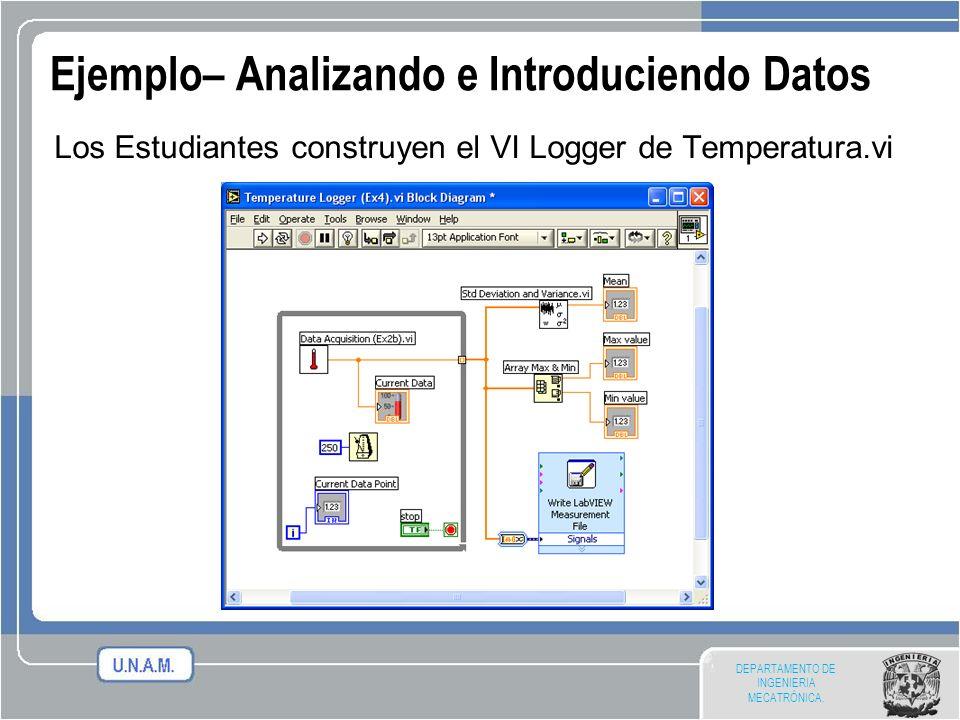 DEPARTAMENTO DE INGENIERIA MECATRÓNICA. Ejemplo– Analizando e Introduciendo Datos Los Estudiantes construyen el VI Logger de Temperatura.vi