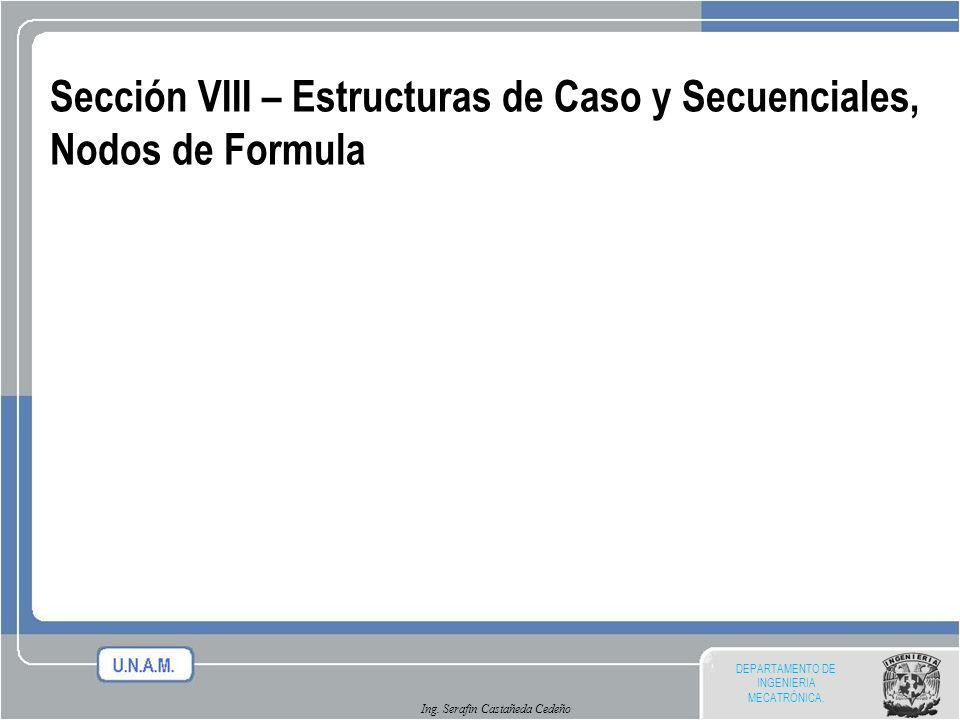 DEPARTAMENTO DE INGENIERIA MECATRÓNICA. Ing. Serafin Castañeda Cedeño Sección VIII – Estructuras de Caso y Secuenciales, Nodos de Formula