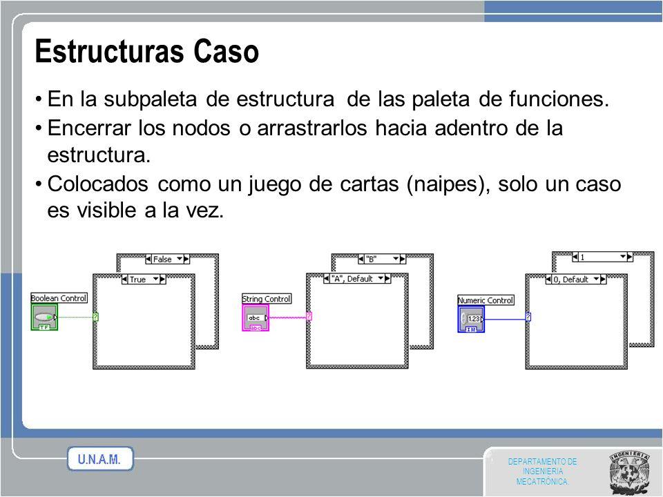 DEPARTAMENTO DE INGENIERIA MECATRÓNICA. Estructuras Caso En la subpaleta de estructura de las paleta de funciones. Encerrar los nodos o arrastrarlos h