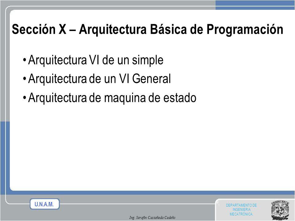 DEPARTAMENTO DE INGENIERIA MECATRÓNICA. Ing. Serafin Castañeda Cedeño Sección X – Arquitectura Básica de Programación Arquitectura VI de un simple Arq
