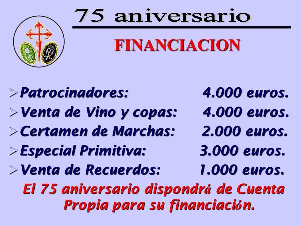 FINANCIACION Patrocinadores: 4.000 euros. Patrocinadores: 4.000 euros. Venta de Vino y copas: 4.000 euros. Venta de Vino y copas: 4.000 euros. Certame
