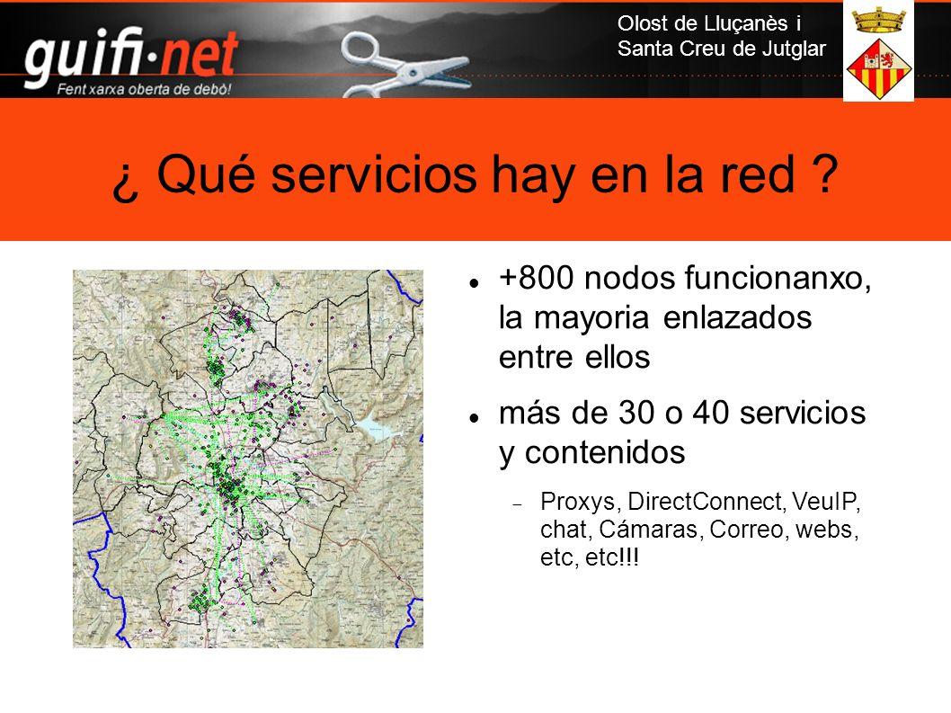 Olost de Lluçanès i Santa Creu de Jutglar ¿ Qué servicios hay en la red ? +800 nodos funcionanxo, la mayoria enlazados entre ellos más de 30 o 40 serv