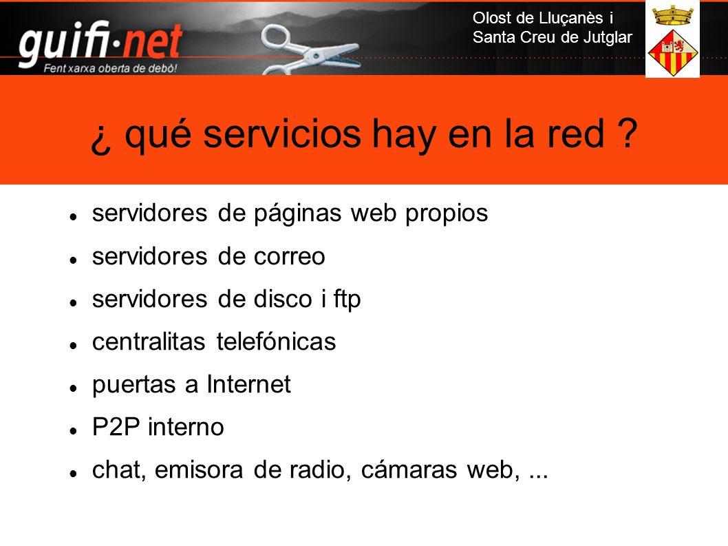 Olost de Lluçanès i Santa Creu de Jutglar servidores de páginas web propios servidores de correo servidores de disco i ftp centralitas telefónicas pue