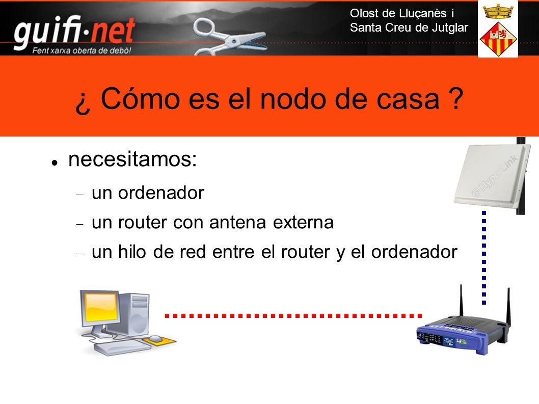 Olost de Lluçanès i Santa Creu de Jutglar necesitamos: un ordenador un router con antena externa un hilo de red entre el router y el ordenador ¿ Cómo