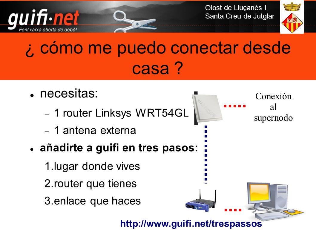 Olost de Lluçanès i Santa Creu de Jutglar necesitas: 1 router Linksys WRT54GL 1 antena externa añadirte a guifi en tres pasos: 1.lugar donde vives 2.r