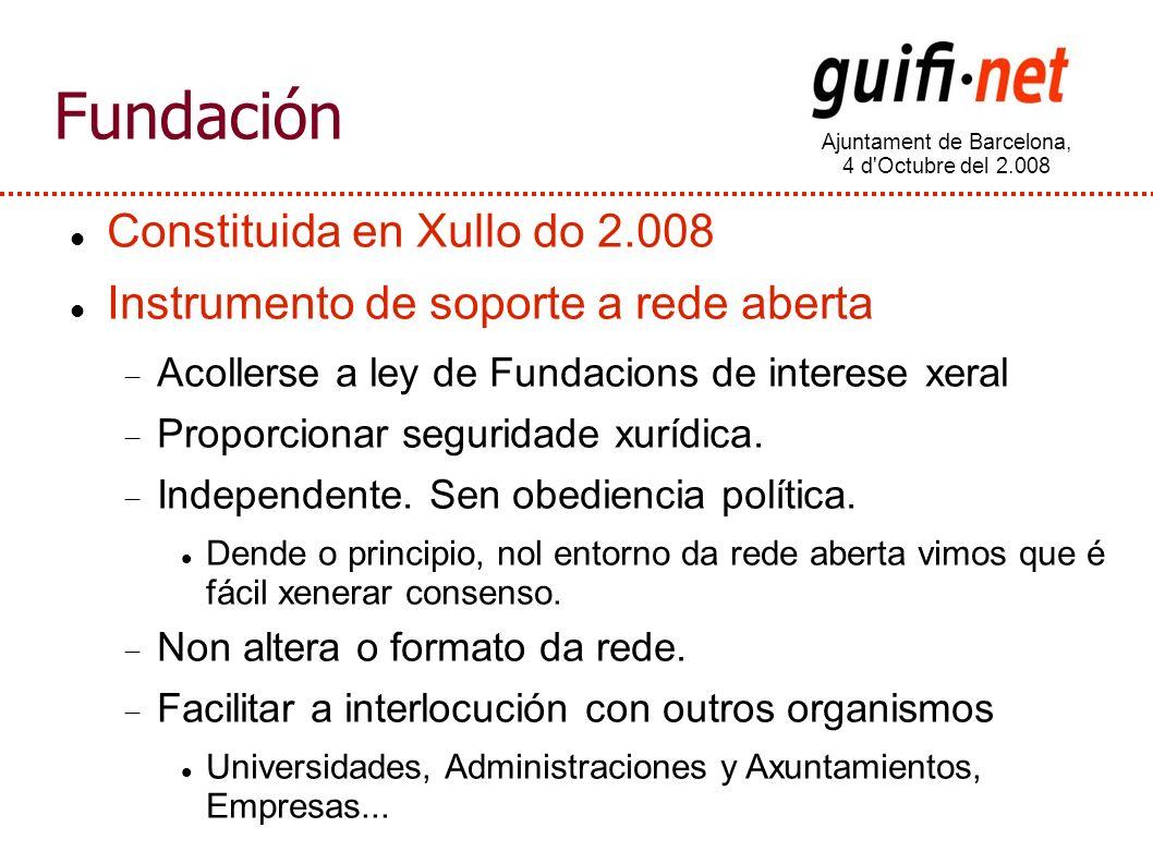 Ajuntament de Barcelona, 4 d Octubre del 2.008 Fundación Constituida en Xullo do 2.008 Instrumento de soporte a rede aberta Acollerse a ley de Fundacions de interese xeral Proporcionar seguridade xurídica.