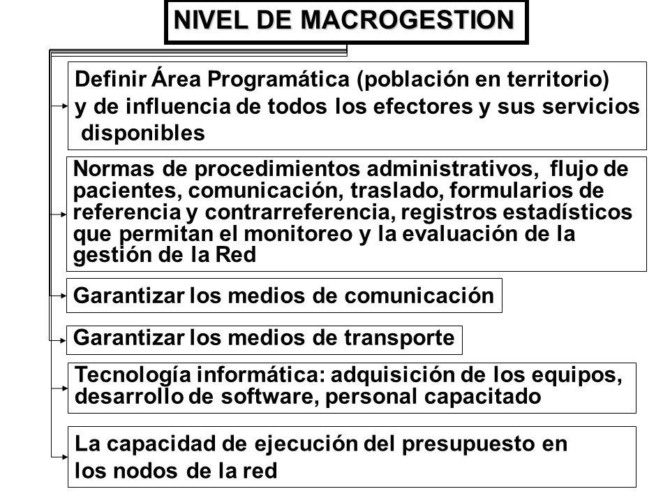 Definir Área Programática (población en territorio) y de influencia de todos los efectores y sus servicios disponibles NIVEL DE MACROGESTION Normas de