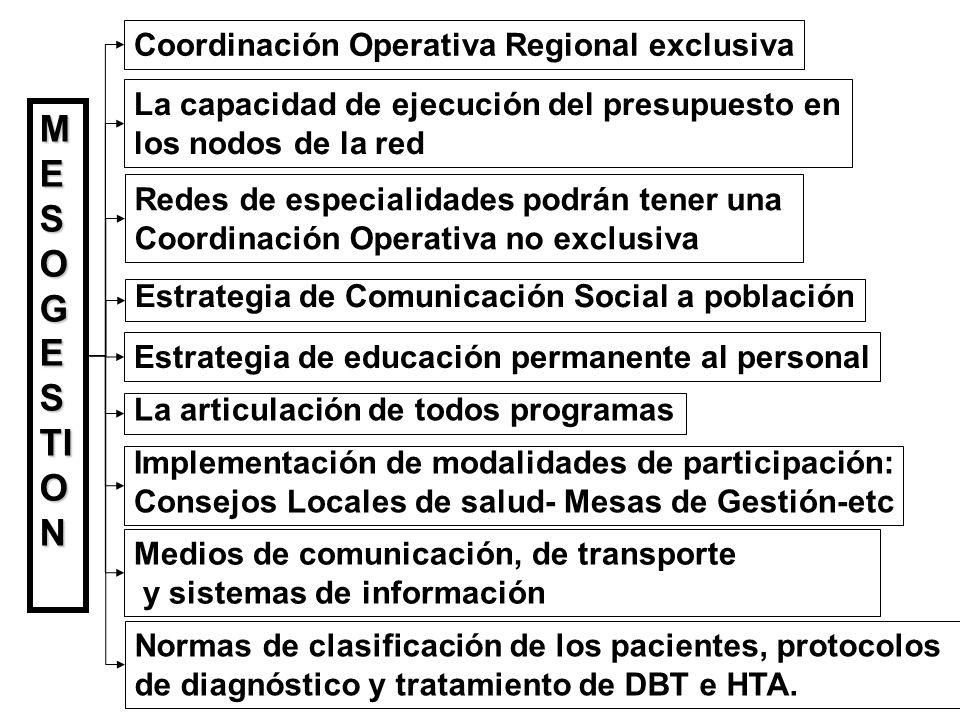 Coordinación Operativa Regional exclusiva M E S O G E S TI O N La capacidad de ejecución del presupuesto en los nodos de la red Implementación de modalidades de participación: Consejos Locales de salud- Mesas de Gestión-etc Estrategia de educación permanente al personal Medios de comunicación, de transporte y sistemas de información Estrategia de Comunicación Social a población La articulación de todos programas Redes de especialidades podrán tener una Coordinación Operativa no exclusiva Normas de clasificación de los pacientes, protocolos de diagnóstico y tratamiento de DBT e HTA.