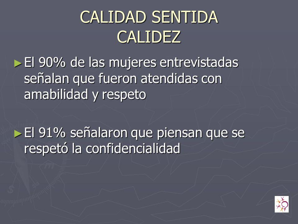 CALIDAD SENTIDA CALIDEZ El 90% de las mujeres entrevistadas señalan que fueron atendidas con amabilidad y respeto El 90% de las mujeres entrevistadas señalan que fueron atendidas con amabilidad y respeto El 91% señalaron que piensan que se respetó la confidencialidad El 91% señalaron que piensan que se respetó la confidencialidad