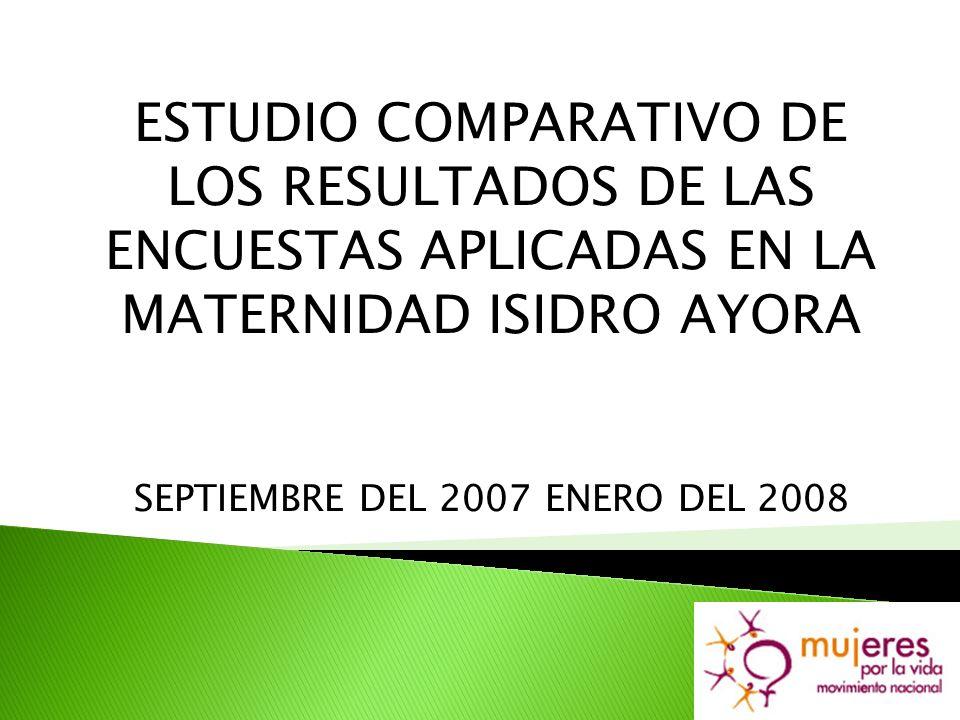 ESTUDIO COMPARATIVO DE LOS RESULTADOS DE LAS ENCUESTAS APLICADAS EN LA MATERNIDAD ISIDRO AYORA SEPTIEMBRE DEL 2007 ENERO DEL 2008