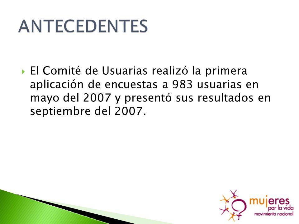 El Comité de Usuarias realizó la primera aplicación de encuestas a 983 usuarias en mayo del 2007 y presentó sus resultados en septiembre del 2007.