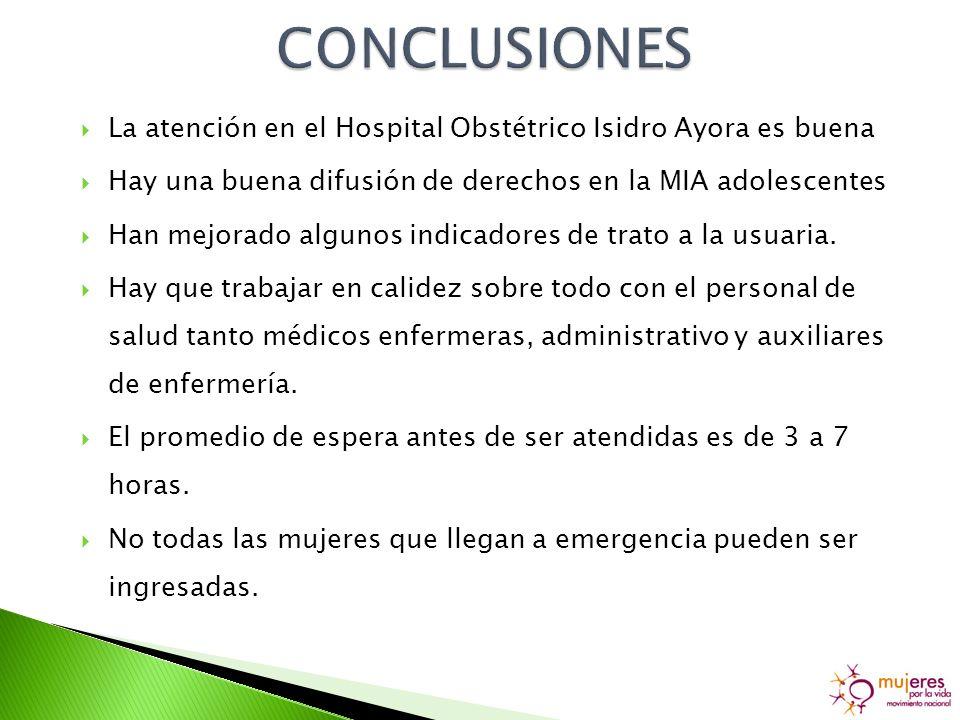 La atención en el Hospital Obstétrico Isidro Ayora es buena Hay una buena difusión de derechos en la MIA adolescentes Han mejorado algunos indicadores de trato a la usuaria.