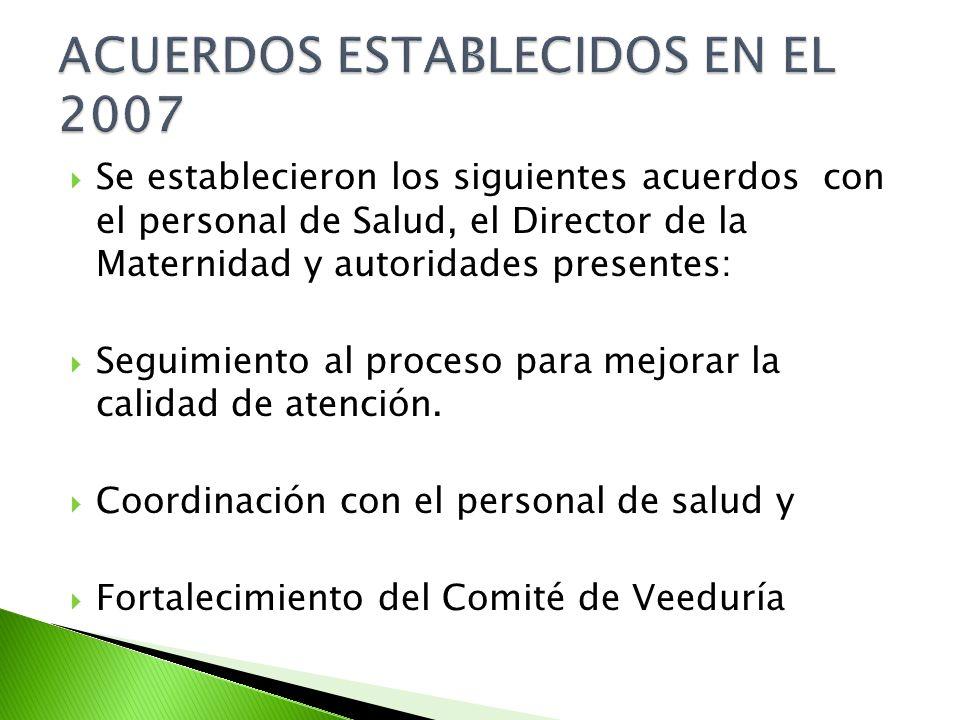 Se establecieron los siguientes acuerdos con el personal de Salud, el Director de la Maternidad y autoridades presentes: Seguimiento al proceso para mejorar la calidad de atención.