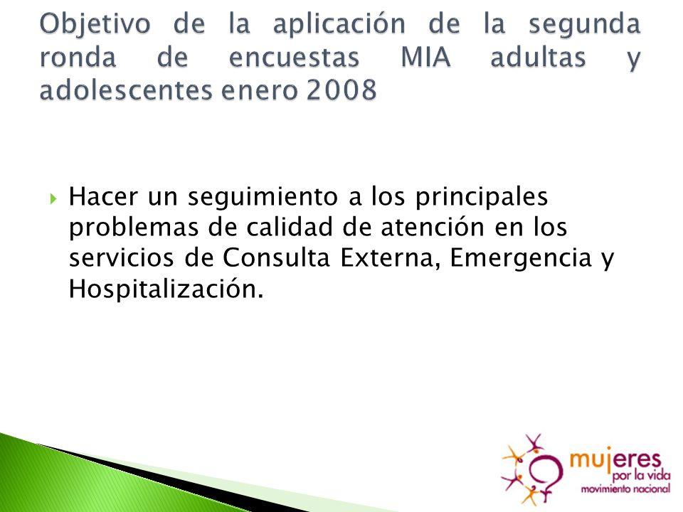 Hacer un seguimiento a los principales problemas de calidad de atención en los servicios de Consulta Externa, Emergencia y Hospitalización.