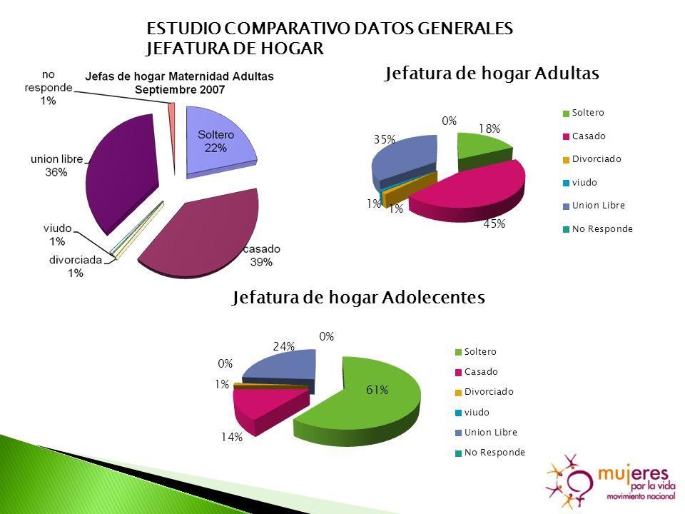 ESTUDIO COMPARATIVO DATOS GENERALES JEFATURA DE HOGAR