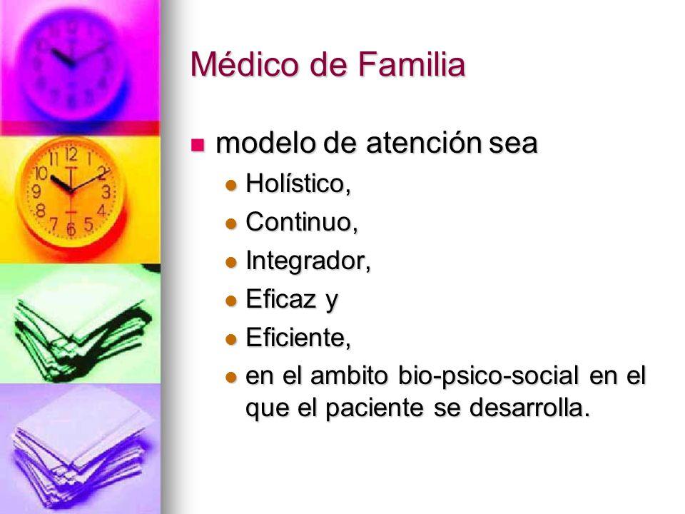 Médico de Familia modelo de atención sea modelo de atención sea Holístico, Holístico, Continuo, Continuo, Integrador, Integrador, Eficaz y Eficaz y Eficiente, Eficiente, en el ambito bio-psico-social en el que el paciente se desarrolla.