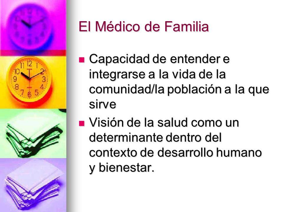El Médico de Familia Capacidad de entender e integrarse a la vida de la comunidad/la población a la que sirve Capacidad de entender e integrarse a la vida de la comunidad/la población a la que sirve Visión de la salud como un determinante dentro del contexto de desarrollo humano y bienestar.