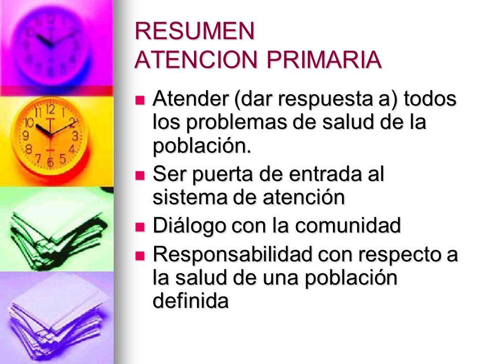 RESUMEN ATENCION PRIMARIA Atender (dar respuesta a) todos los problemas de salud de la población.