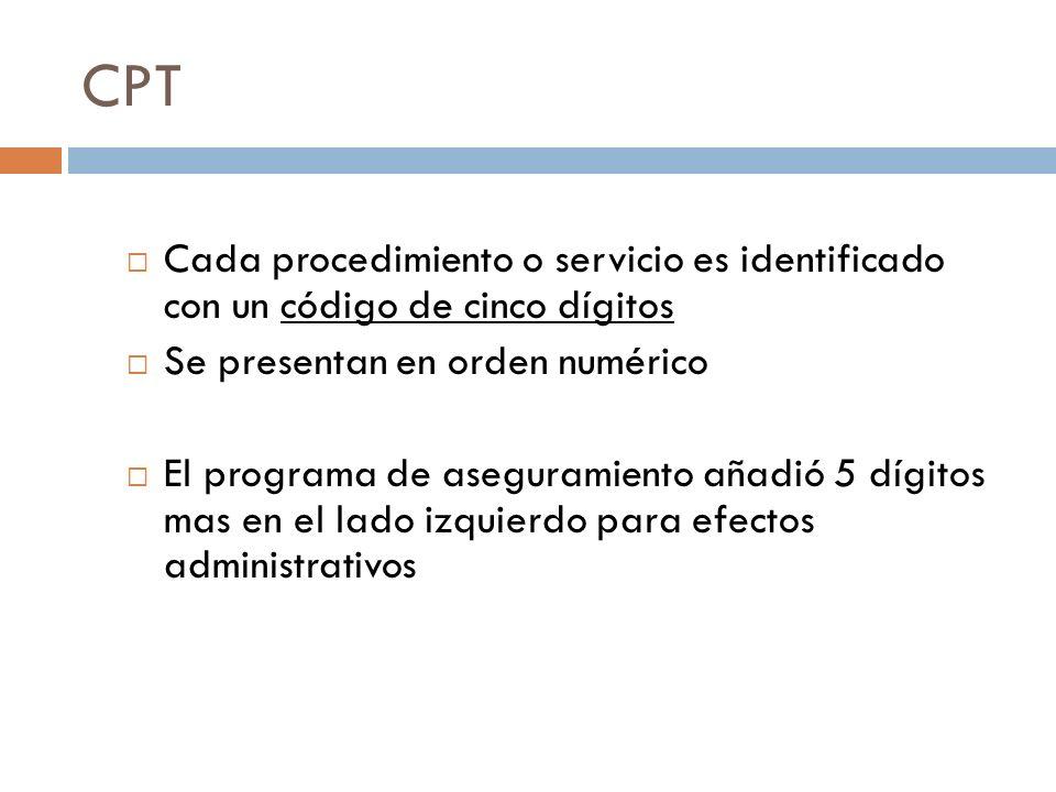 CPT Cada procedimiento o servicio es identificado con un código de cinco dígitos Se presentan en orden numérico El programa de aseguramiento añadió 5