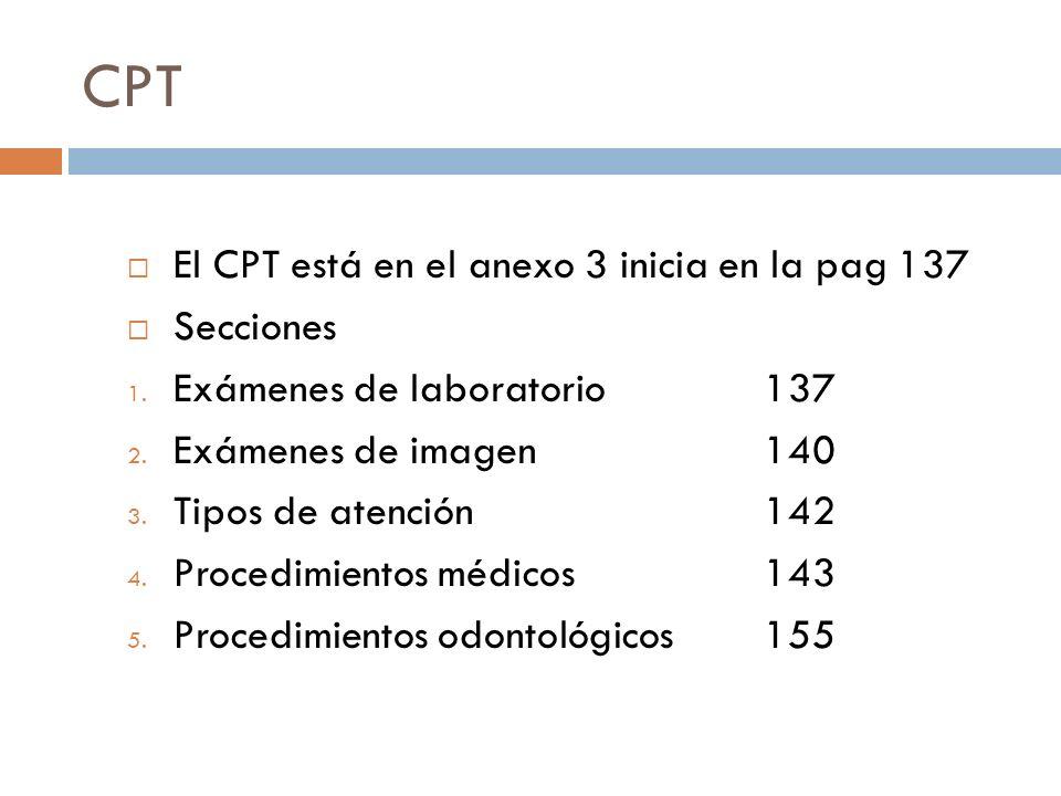 CPT El CPT está en el anexo 3 inicia en la pag 137 Secciones 1. Exámenes de laboratorio 137 2. Exámenes de imagen 140 3. Tipos de atención 142 4. Proc