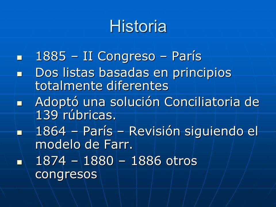 Historia 1885 – II Congreso – París 1885 – II Congreso – París Dos listas basadas en principios totalmente diferentes Dos listas basadas en principios totalmente diferentes Adoptó una solución Conciliatoria de 139 rúbricas.