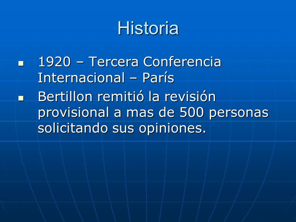 Historia 1920 – Tercera Conferencia Internacional – París 1920 – Tercera Conferencia Internacional – París Bertillon remitió la revisión provisional a mas de 500 personas solicitando sus opiniones.