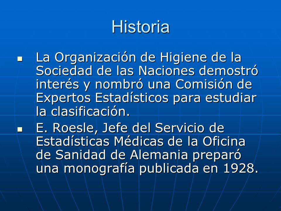 Historia La Organización de Higiene de la Sociedad de las Naciones demostró interés y nombró una Comisión de Expertos Estadísticos para estudiar la clasificación.