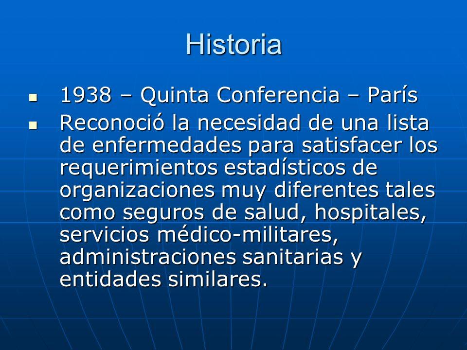 Historia 1938 – Quinta Conferencia – París 1938 – Quinta Conferencia – París Reconoció la necesidad de una lista de enfermedades para satisfacer los requerimientos estadísticos de organizaciones muy diferentes tales como seguros de salud, hospitales, servicios médico-militares, administraciones sanitarias y entidades similares.