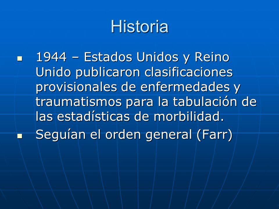 Historia 1944 – Estados Unidos y Reino Unido publicaron clasificaciones provisionales de enfermedades y traumatismos para la tabulación de las estadísticas de morbilidad.