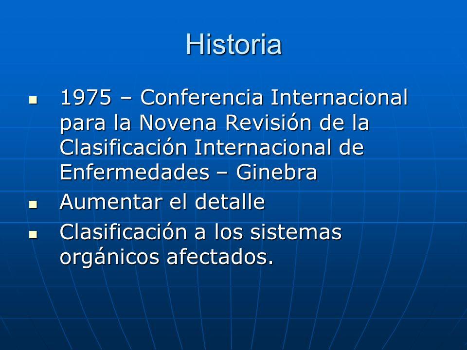 Historia 1975 – Conferencia Internacional para la Novena Revisión de la Clasificación Internacional de Enfermedades – Ginebra 1975 – Conferencia Internacional para la Novena Revisión de la Clasificación Internacional de Enfermedades – Ginebra Aumentar el detalle Aumentar el detalle Clasificación a los sistemas orgánicos afectados.