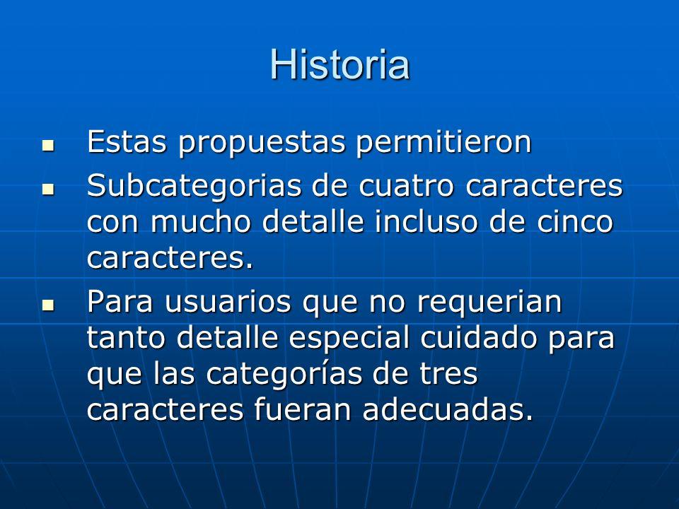 Historia Estas propuestas permitieron Estas propuestas permitieron Subcategorias de cuatro caracteres con mucho detalle incluso de cinco caracteres.