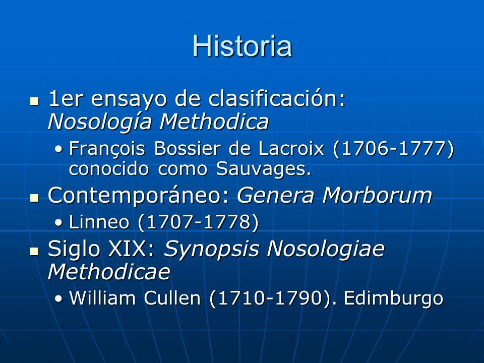 Historia 1er ensayo de clasificación: Nosología Methodica 1er ensayo de clasificación: Nosología Methodica François Bossier de Lacroix (1706-1777) conocido como Sauvages.François Bossier de Lacroix (1706-1777) conocido como Sauvages.