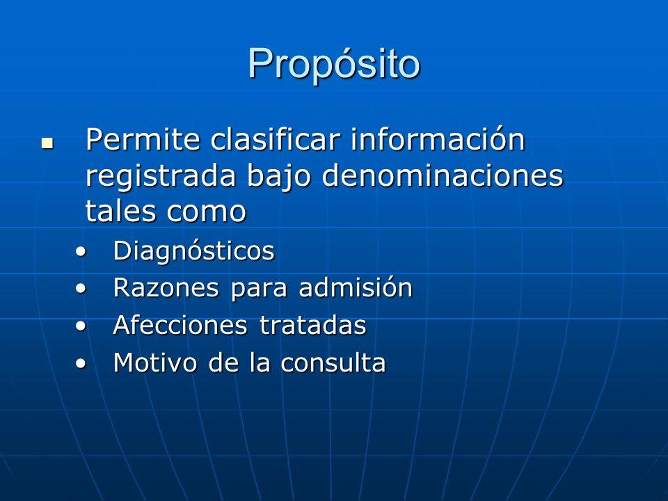 Propósito Permite clasificar información registrada bajo denominaciones tales como Permite clasificar información registrada bajo denominaciones tales como DiagnósticosDiagnósticos Razones para admisiónRazones para admisión Afecciones tratadasAfecciones tratadas Motivo de la consultaMotivo de la consulta