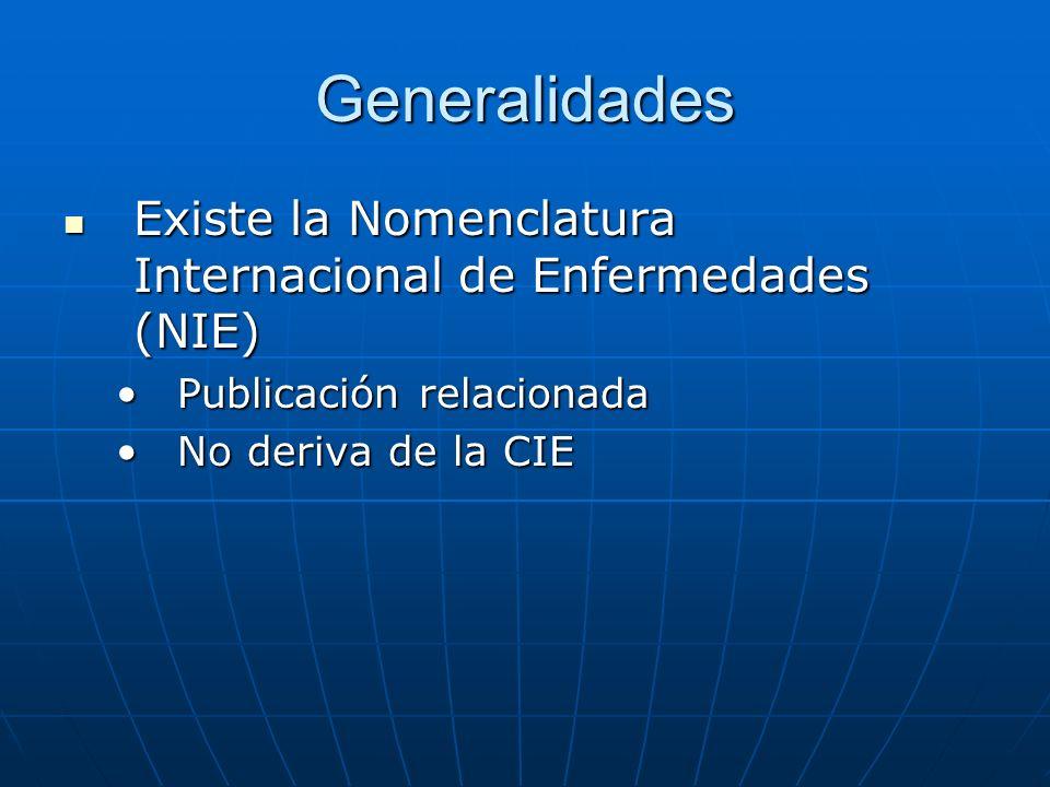 Generalidades Existe la Nomenclatura Internacional de Enfermedades (NIE) Existe la Nomenclatura Internacional de Enfermedades (NIE) Publicación relacionadaPublicación relacionada No deriva de la CIENo deriva de la CIE