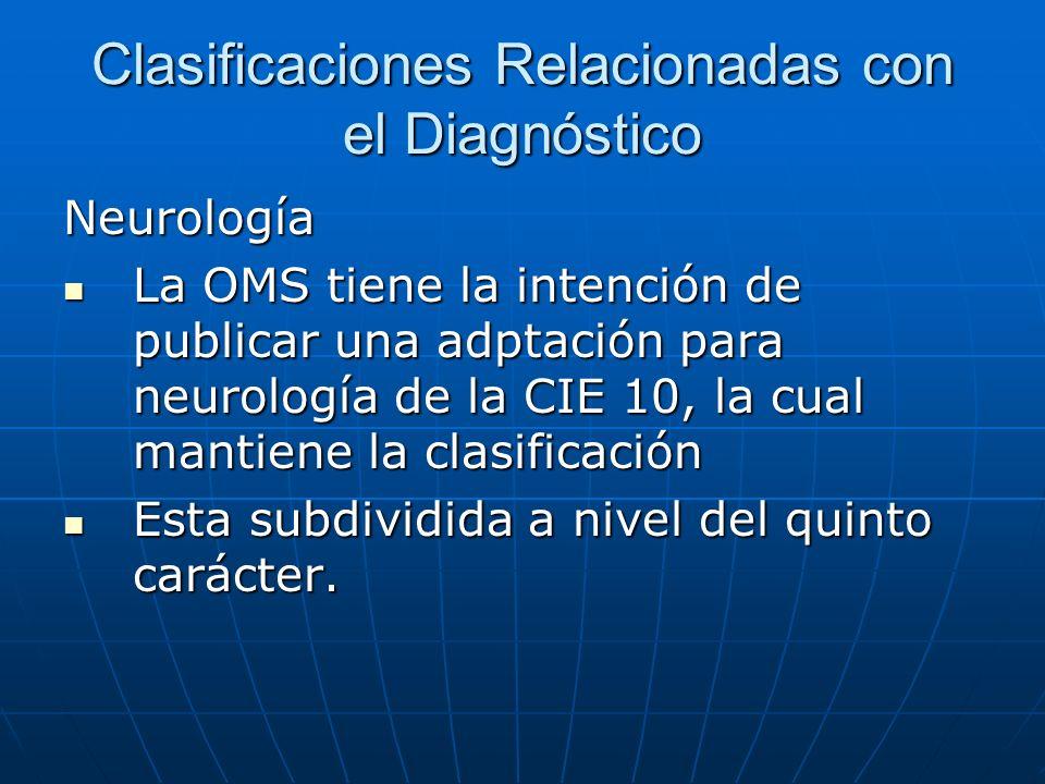 Clasificaciones Relacionadas con el Diagnóstico Neurología La OMS tiene la intención de publicar una adptación para neurología de la CIE 10, la cual mantiene la clasificación La OMS tiene la intención de publicar una adptación para neurología de la CIE 10, la cual mantiene la clasificación Esta subdividida a nivel del quinto carácter.