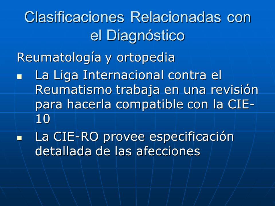 Clasificaciones Relacionadas con el Diagnóstico Reumatología y ortopedia La Liga Internacional contra el Reumatismo trabaja en una revisión para hacerla compatible con la CIE- 10 La Liga Internacional contra el Reumatismo trabaja en una revisión para hacerla compatible con la CIE- 10 La CIE-RO provee especificación detallada de las afecciones La CIE-RO provee especificación detallada de las afecciones
