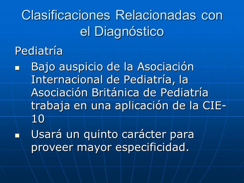 Clasificaciones Relacionadas con el Diagnóstico Pediatría Bajo auspicio de la Asociación Internacional de Pediatría, la Asociación Británica de Pediatría trabaja en una aplicación de la CIE- 10 Bajo auspicio de la Asociación Internacional de Pediatría, la Asociación Británica de Pediatría trabaja en una aplicación de la CIE- 10 Usará un quinto carácter para proveer mayor especificidad.