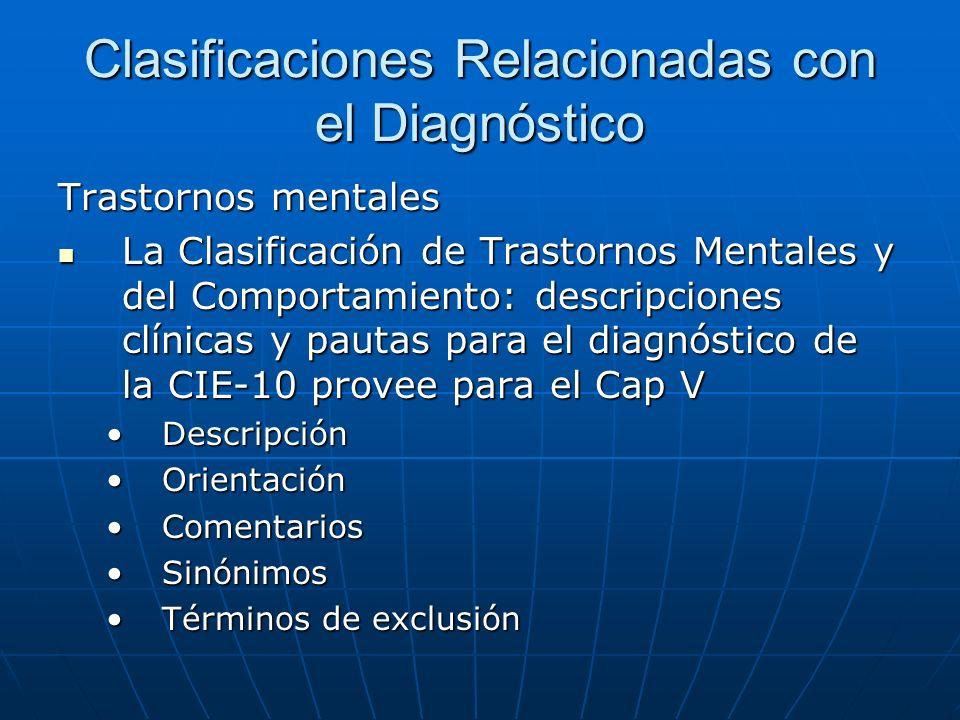 Clasificaciones Relacionadas con el Diagnóstico Trastornos mentales La Clasificación de Trastornos Mentales y del Comportamiento: descripciones clínicas y pautas para el diagnóstico de la CIE-10 provee para el Cap V La Clasificación de Trastornos Mentales y del Comportamiento: descripciones clínicas y pautas para el diagnóstico de la CIE-10 provee para el Cap V DescripciónDescripción OrientaciónOrientación ComentariosComentarios SinónimosSinónimos Términos de exclusiónTérminos de exclusión