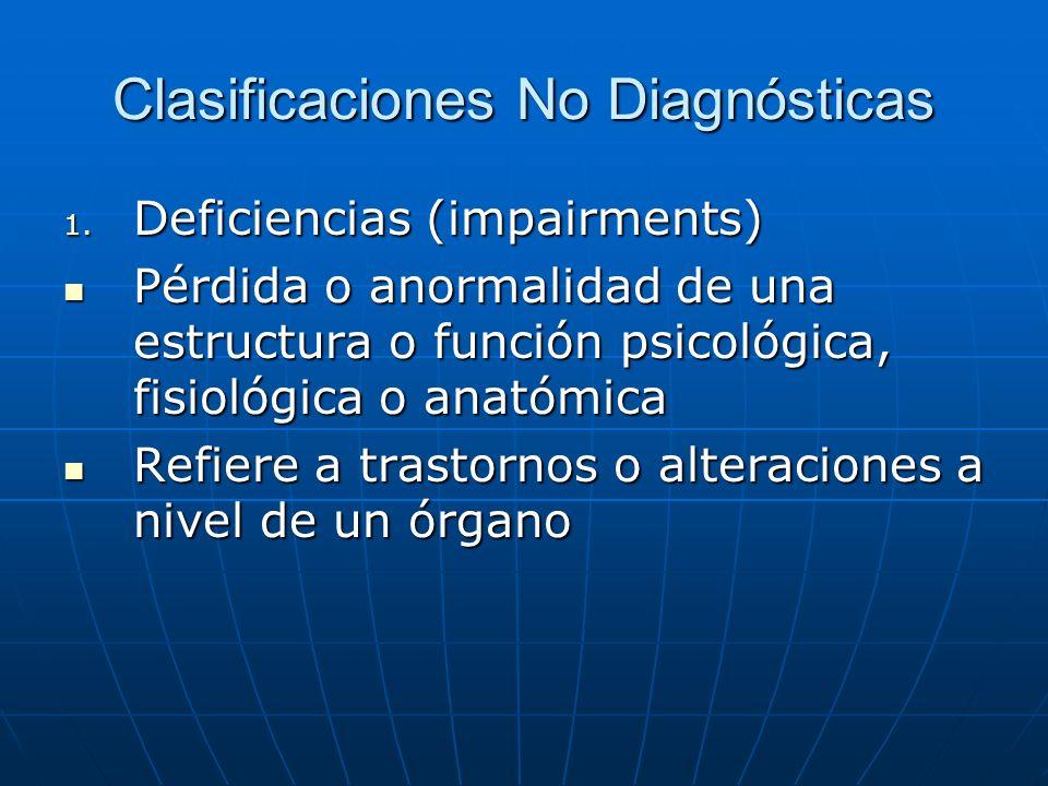 Clasificaciones No Diagnósticas 1.