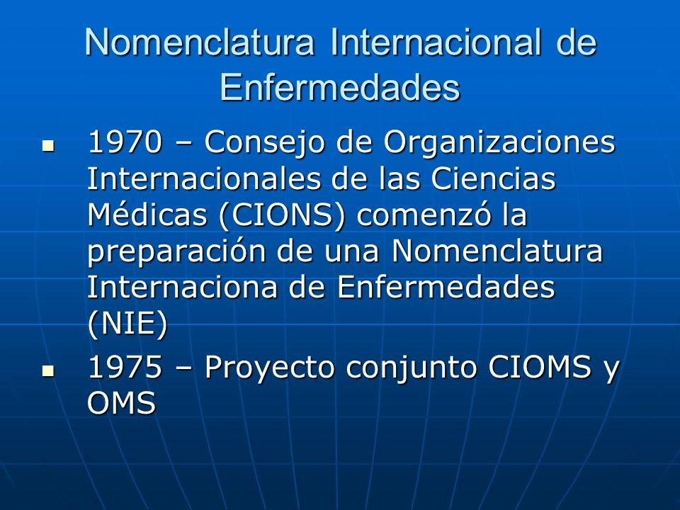 Nomenclatura Internacional de Enfermedades 1970 – Consejo de Organizaciones Internacionales de las Ciencias Médicas (CIONS) comenzó la preparación de una Nomenclatura Internaciona de Enfermedades (NIE) 1970 – Consejo de Organizaciones Internacionales de las Ciencias Médicas (CIONS) comenzó la preparación de una Nomenclatura Internaciona de Enfermedades (NIE) 1975 – Proyecto conjunto CIOMS y OMS 1975 – Proyecto conjunto CIOMS y OMS