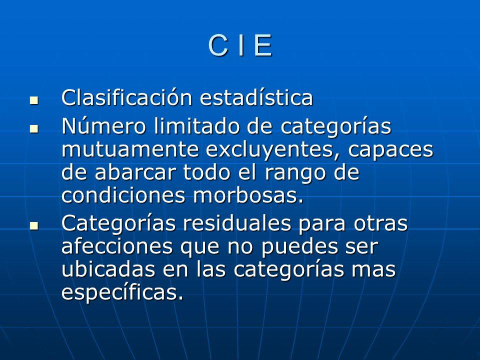 C I E Clasificación estadística Clasificación estadística Número limitado de categorías mutuamente excluyentes, capaces de abarcar todo el rango de condiciones morbosas.