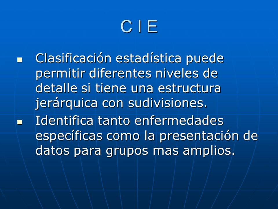 C I E Clasificación estadística puede permitir diferentes niveles de detalle si tiene una estructura jerárquica con sudivisiones.