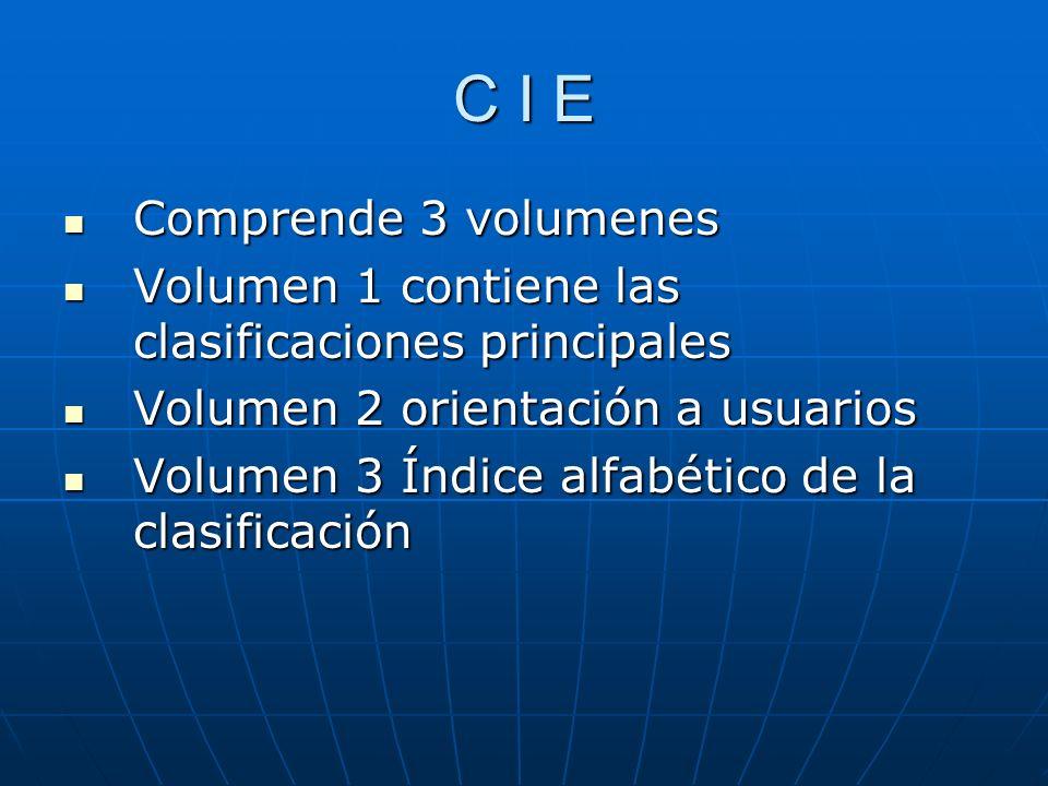 C I E Comprende 3 volumenes Comprende 3 volumenes Volumen 1 contiene las clasificaciones principales Volumen 1 contiene las clasificaciones principales Volumen 2 orientación a usuarios Volumen 2 orientación a usuarios Volumen 3 Índice alfabético de la clasificación Volumen 3 Índice alfabético de la clasificación