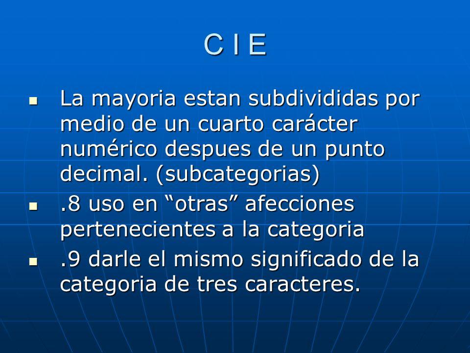 C I E La mayoria estan subdivididas por medio de un cuarto carácter numérico despues de un punto decimal.
