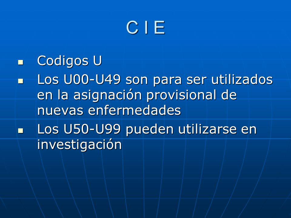 C I E Codigos U Codigos U Los U00-U49 son para ser utilizados en la asignación provisional de nuevas enfermedades Los U00-U49 son para ser utilizados en la asignación provisional de nuevas enfermedades Los U50-U99 pueden utilizarse en investigación Los U50-U99 pueden utilizarse en investigación