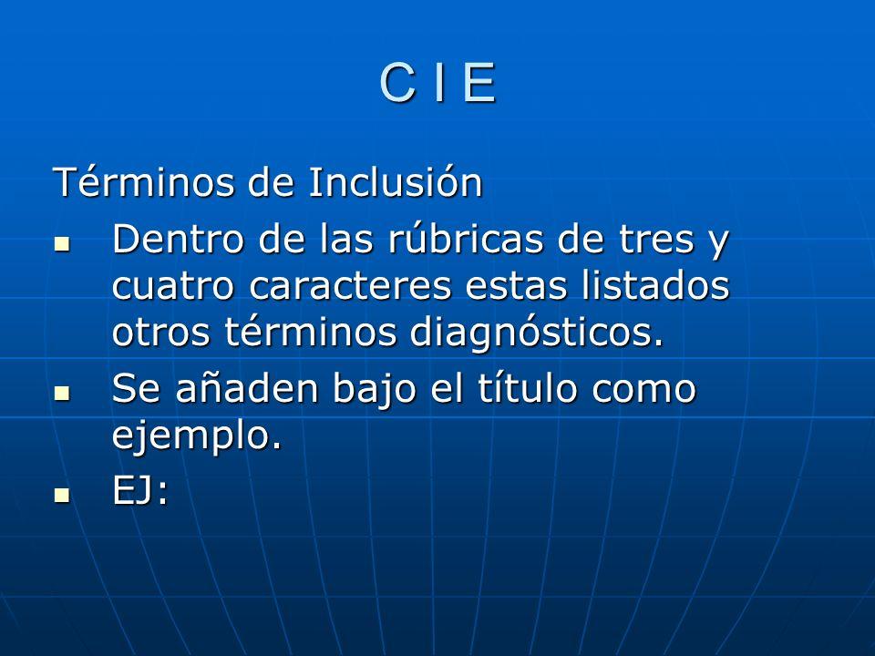 C I E Términos de Inclusión Dentro de las rúbricas de tres y cuatro caracteres estas listados otros términos diagnósticos.