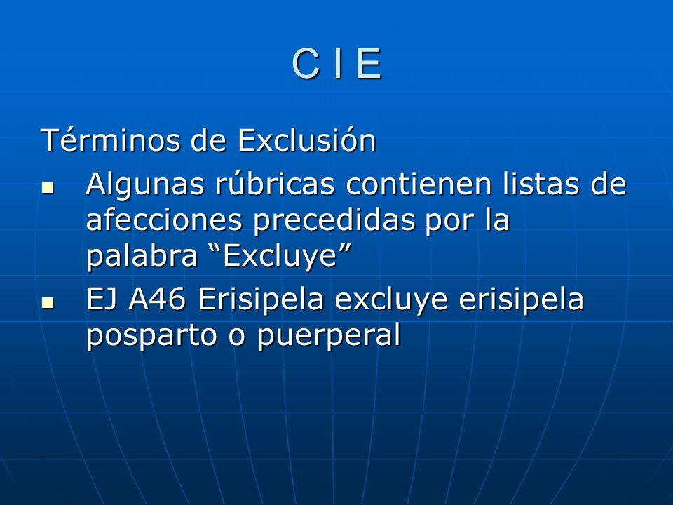 C I E Términos de Exclusión Algunas rúbricas contienen listas de afecciones precedidas por la palabra Excluye Algunas rúbricas contienen listas de afecciones precedidas por la palabra Excluye EJ A46 Erisipela excluye erisipela posparto o puerperal EJ A46 Erisipela excluye erisipela posparto o puerperal